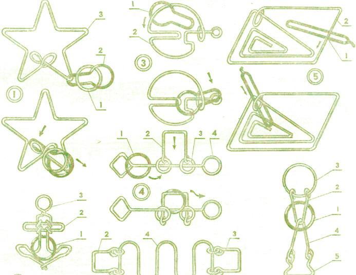 Интересные головоломки из проволоки, проволочные головоломки.